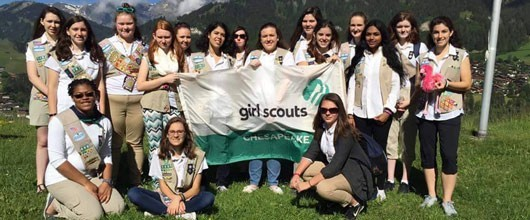 Girl Scouts backpacking